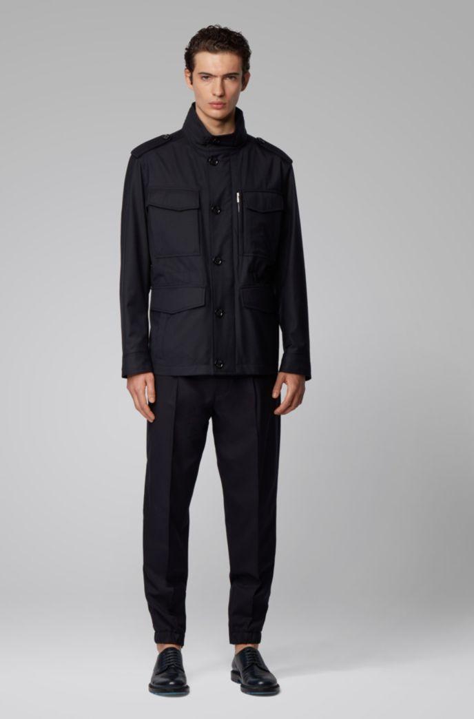 Water-repellent jacket in virgin-wool twill