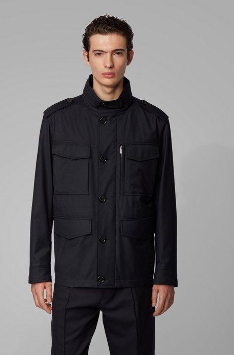 Water-repellent jacket in virgin-wool twill, Dark Blue
