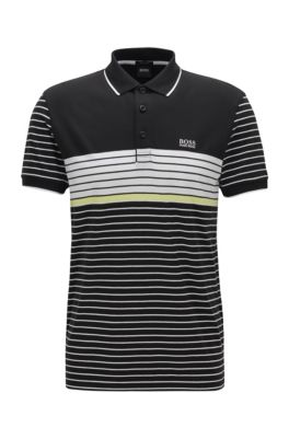 Regular-fit polo shirt with mesh pattern, Black
