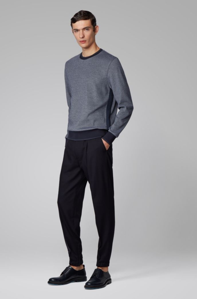 Two-tone sweater with high-shine tipping