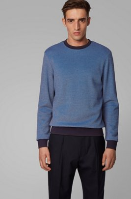 Two-tone sweater with high-shine tipping, Blue