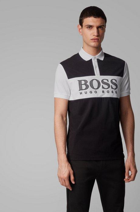 Regular-fit polo shirt with mesh-effect logo print, Black