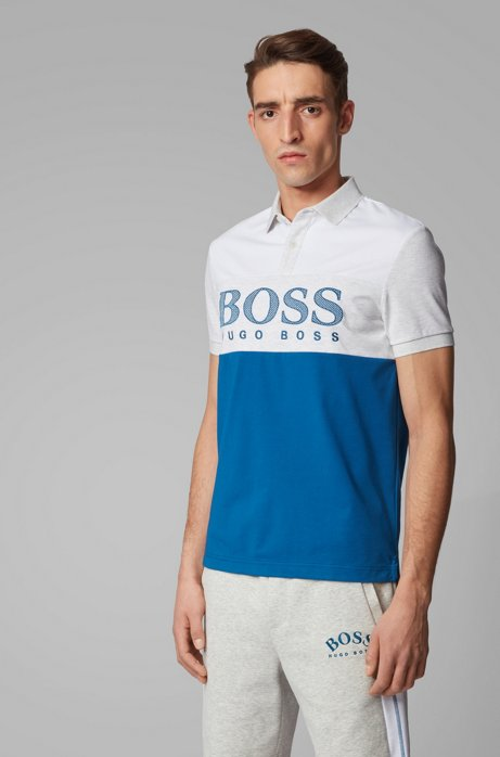 Regular-fit polo shirt with mesh-effect logo print, Blue