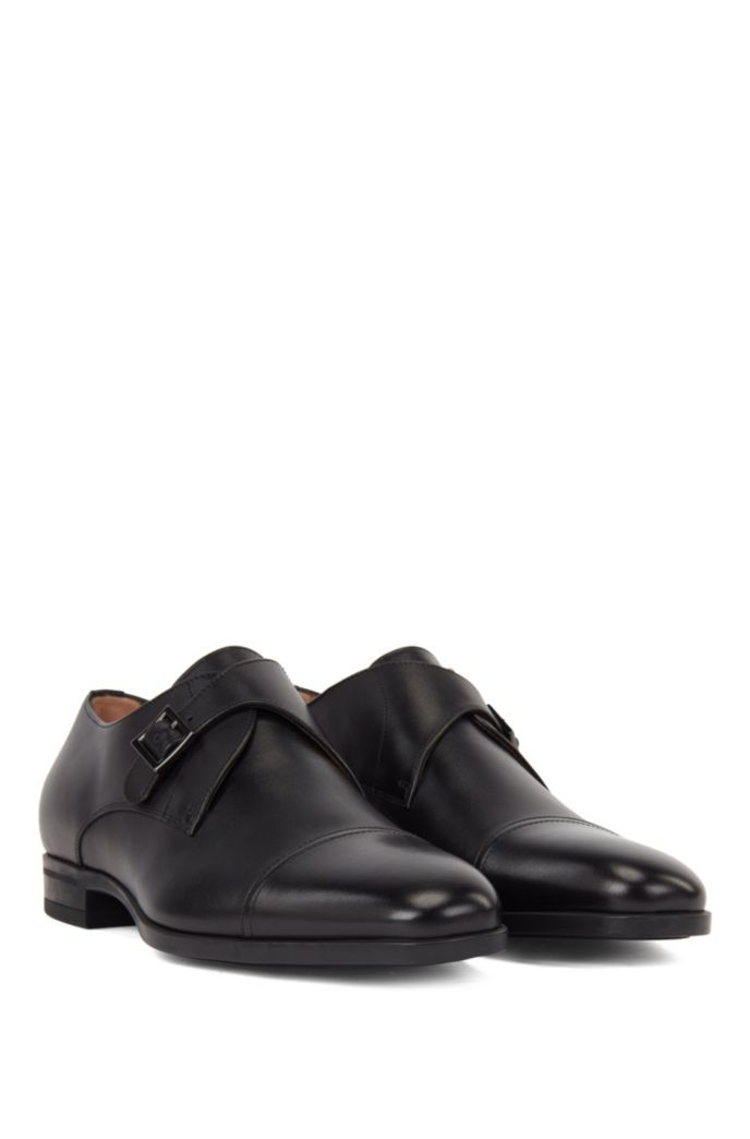 Cap-toe monk shoes in vegetable-tanned leather