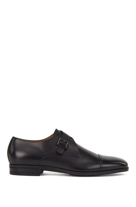 Cap-toe monk shoes in vegetable-tanned leather, Black