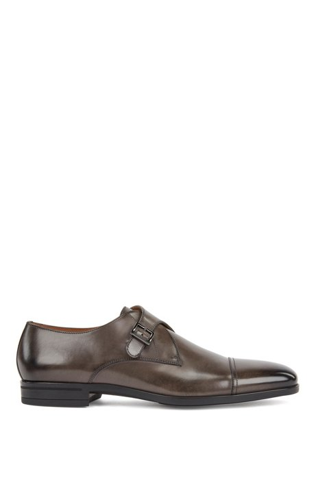 Cap-toe monk shoes in vegetable-tanned leather, Grey