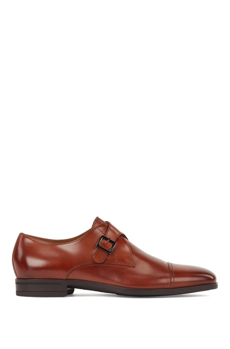 Cap-toe monk shoes in vegetable-tanned leather, Brown