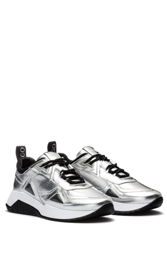 Leather and nylon trainers with metallic effect