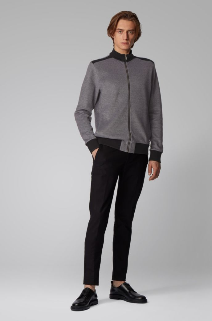 Zip-through knitted sweatshirt with lustrous tipping
