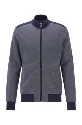 Zip-through knitted sweatshirt with lustrous tipping, Dark Blue