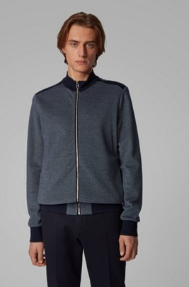Zip-through knitted sweatshirt with lustrous tipping, Dark Blue