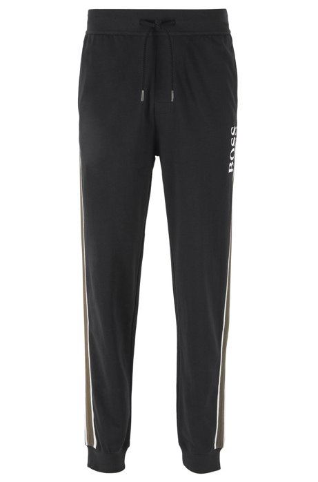 Loungewear pants in French cotton terry with side stripes, Black