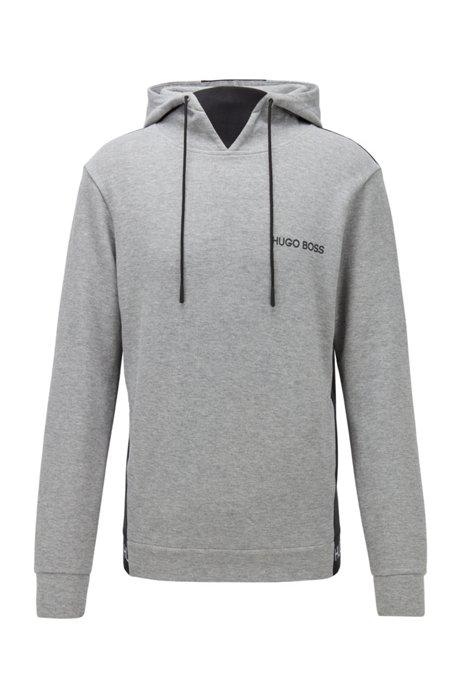 Regular-fit loungewear sweatshirt in cotton-piqué jacquard, Grey
