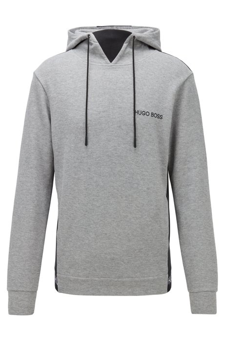 Regular-fit loungewear sweatshirt in cotton-piqué jacquard, Grey