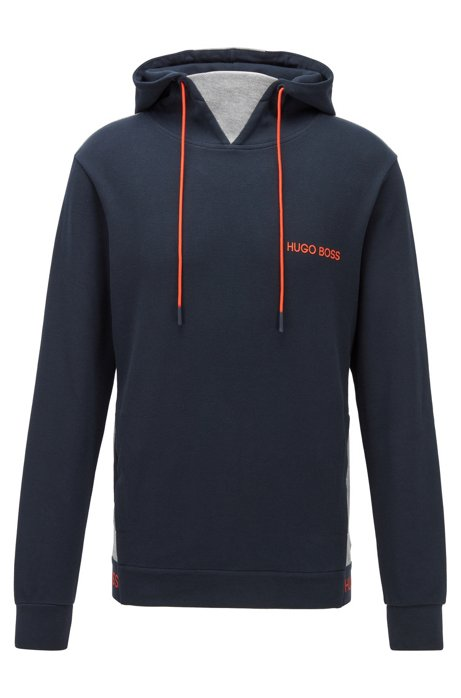 Regular-fit loungewear sweatshirt in cotton-piqué jacquard, Dark Blue