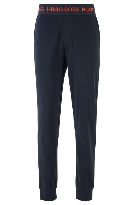 Loungewear pants in cotton-piqué jacquard with cuffed hems, Dark Blue
