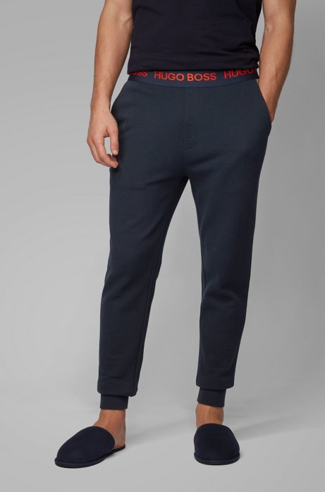 Loungewear pants in cotton-piqué jacquard with cuffed hems, Dark Blue