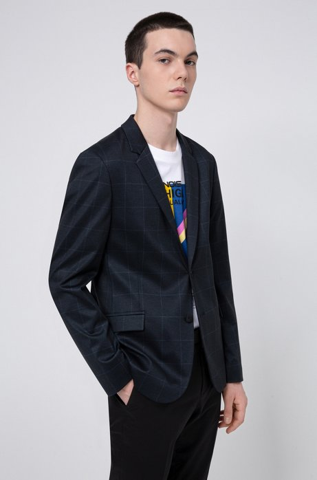 Slim-fit jacket in windowpane-check jersey, Dark Blue