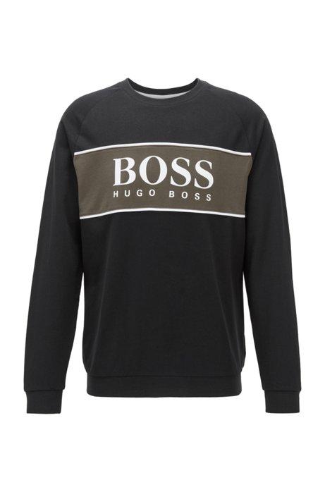 Logo loungewear sweatshirt in cotton terry, Black
