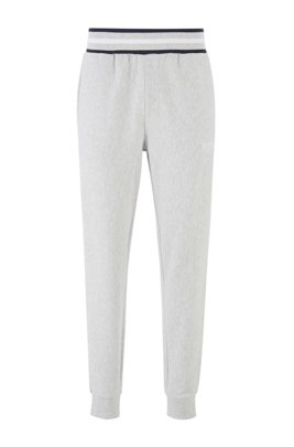 Loungewear pants in needle-rib cotton jacquard, Grey