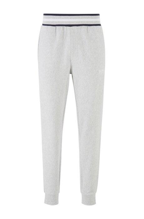 Loungewear pants in needle-rib cotton jacquard, Grey