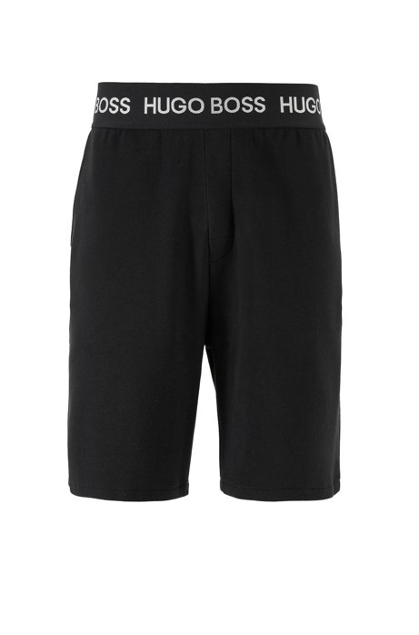 Loungewear shorts in cotton piqué with logo waistband, Grey