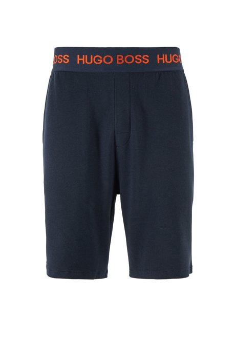 Loungewear shorts in cotton piqué with logo waistband, Dark Blue