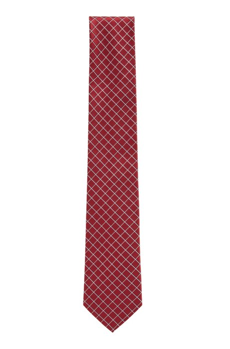 Italian-made tie in pure silk jacquard, Open Red