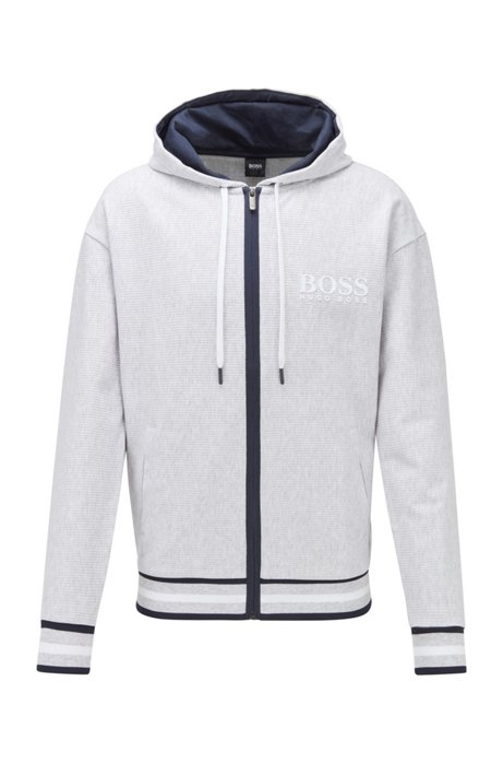 Zip-through hooded sweatshirt in needle-rib cotton jacquard, Grey