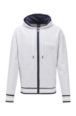 Zip-through hooded sweatshirt in needle-rib cotton jacquard, Grey