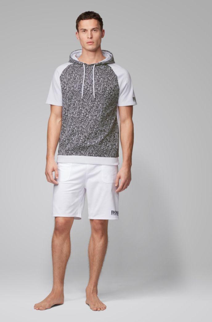 Regular-fit hooded loungewear T-shirt in cotton jacquard
