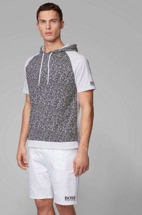 Regular-fit hooded loungewear T-shirt in cotton jacquard, Dark Blue