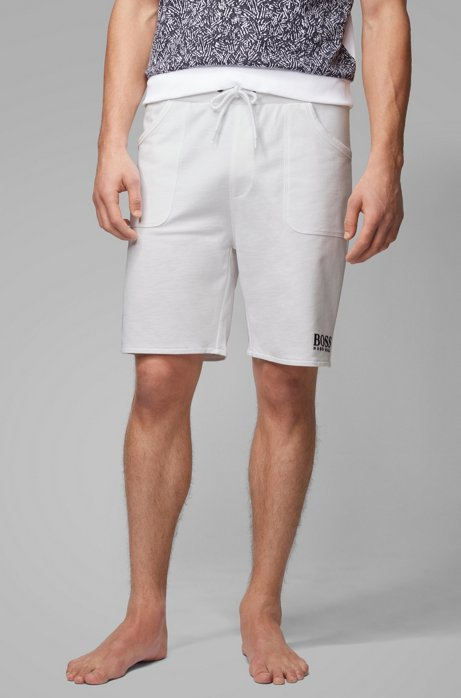 Drawstring-waist loungewear shorts in French terry, White