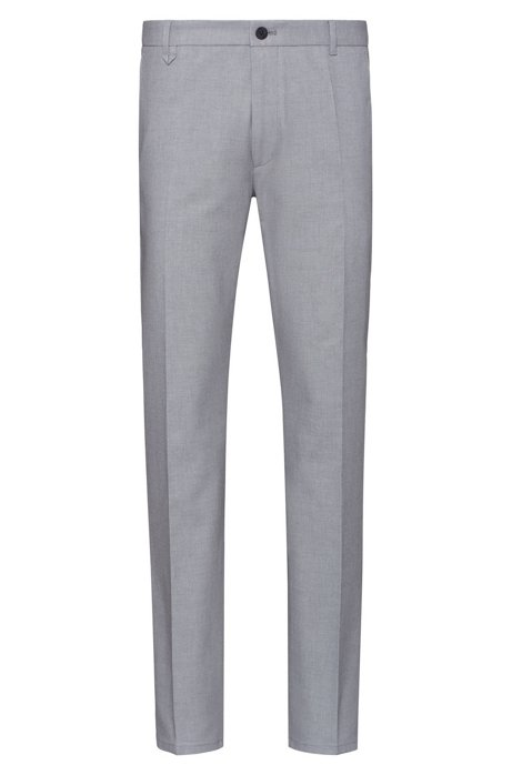 Extra-slim-fit pants in Vichy-check stretch cotton, Open Grey