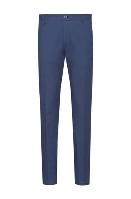 Extra-slim-fit pants in Vichy-check stretch cotton, Dark Blue