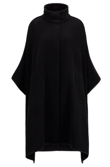 Oversized-fit poncho in a felted wool blend, Black