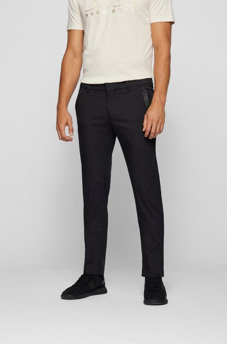 Slim-fit pants in a cotton blend with taped pockets, Black