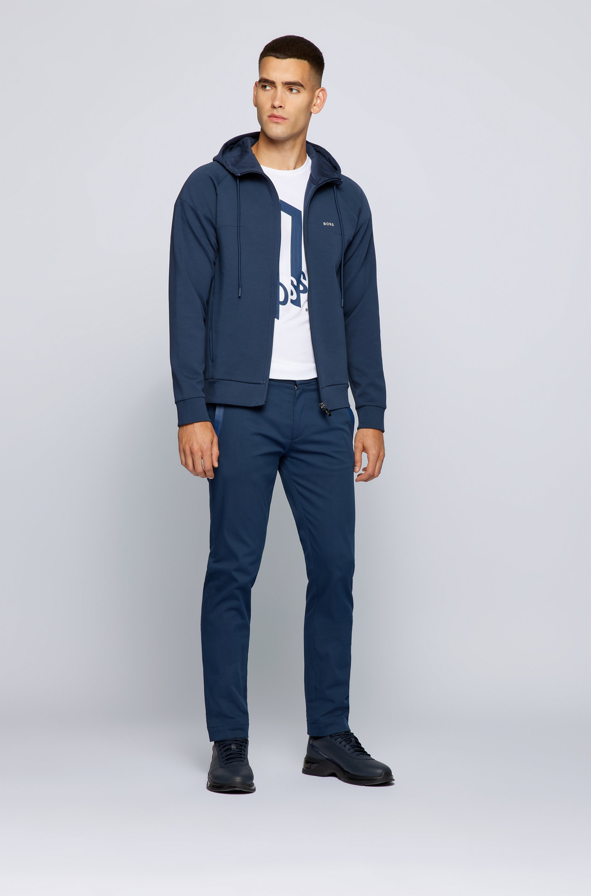 Slim-fit pants in a cotton blend with taped pockets