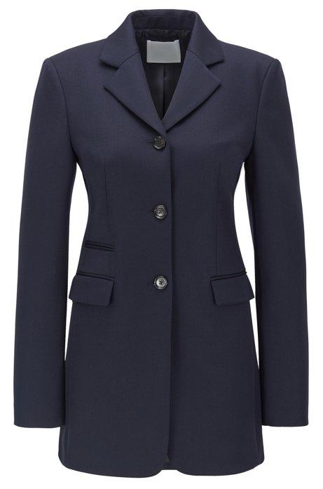 Long-length slim-fit jacket in virgin wool, Open Blue