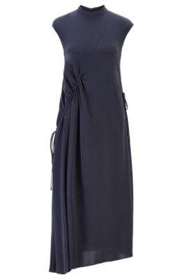 Long-length dress with asymmetric gathering, Open Blue