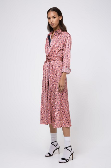 Midi-length shirt dress with window-inspired print, Patterned
