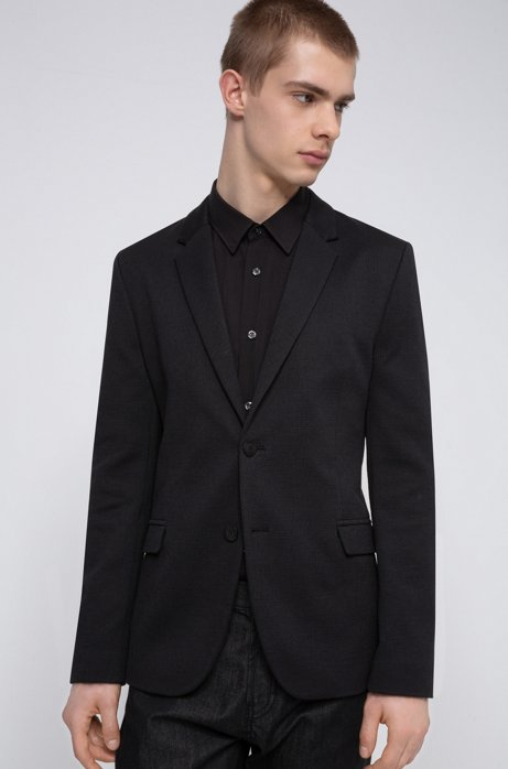 Slim-fit jacket in a structured cotton blend, Black