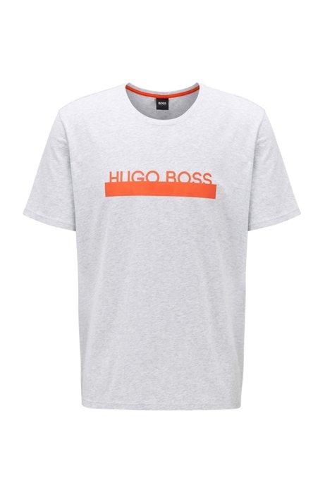 Pajama T-shirt in stretch cotton with new-season logo, Grey