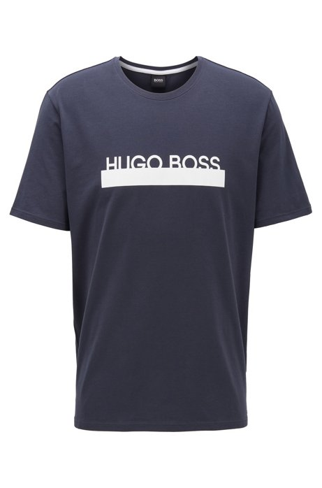 Pajama T-shirt in stretch cotton with new-season logo, Dark Blue