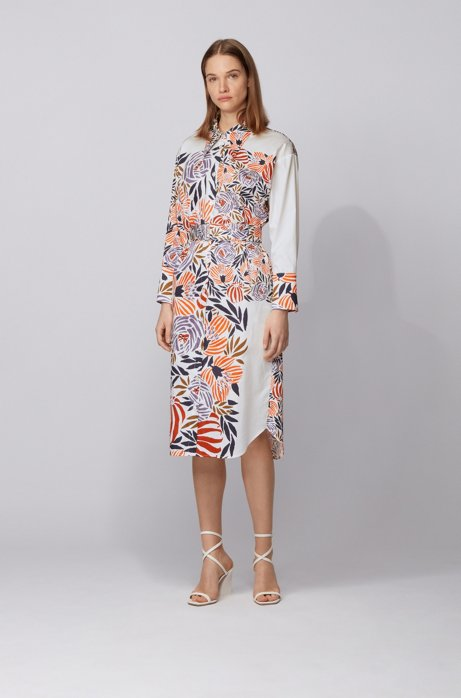 Shirt dress in pure cotton with floral print, Patterned