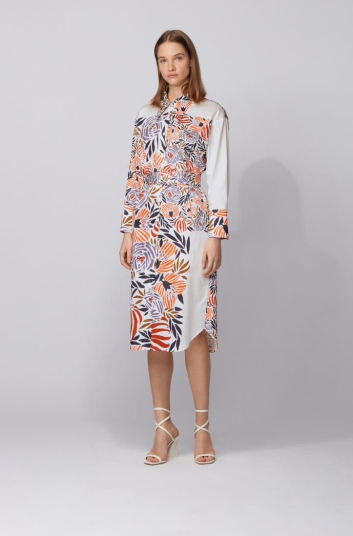 Shirt dress in pure cotton with floral print