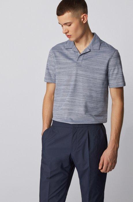 Johnny-collar polo shirt in cotton piqué, Dark Blue