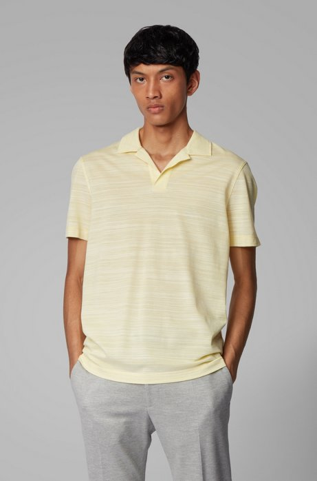 Johnny-collar polo shirt in cotton piqué, Yellow
