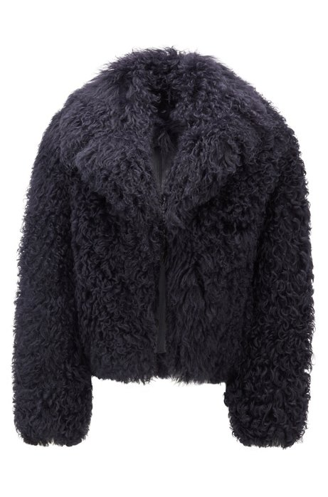 Oversized-lapel jacket in Mongolian shearling, Open Blue