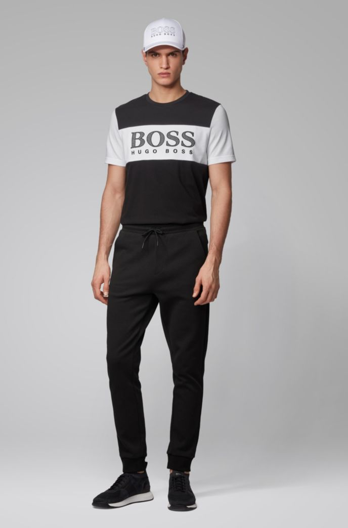 Color-block T-shirt with mesh-effect logo print